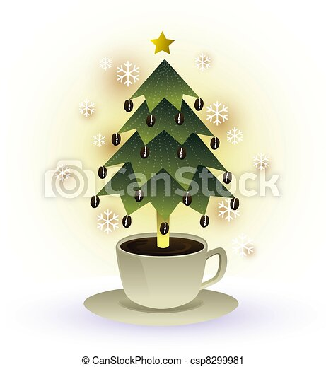 Clipart of christmas tree coffee cup graphic csp8299981 ...
