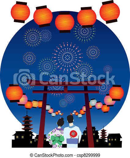 JAPAN SUMMER FESTIVAL vector graphi - csp8299999