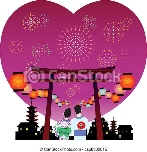 japanese summer festival vector - csp8300015