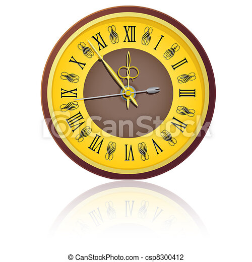 The vintage  clock shortly before midnight. vector. - csp8300412