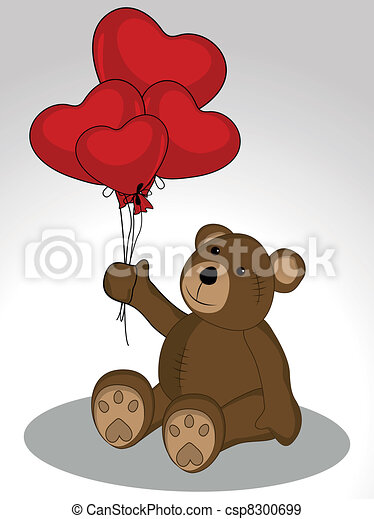 Teddy Bear keeps the balloons in the form of heart shape on white background for Valentines Day. - csp8300699