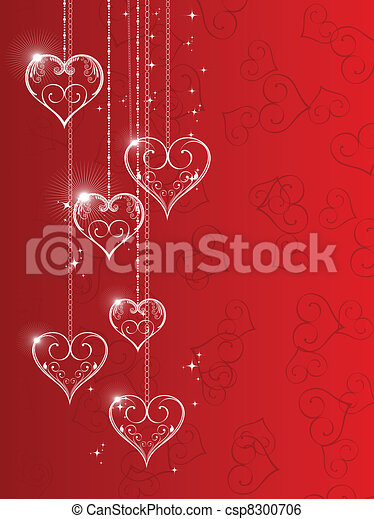 Vector illustration of hanging shiny heart shapes with floral element and stars on red seamless heart shape background for Valentine Day. - csp8300706
