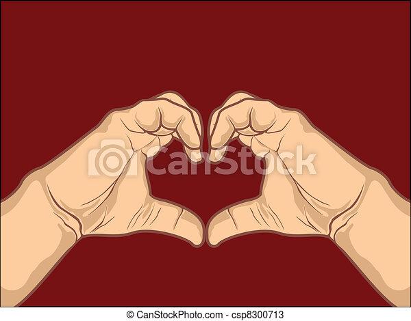 Coração, feito, ocasiões,  valentines, marrom, mão, FORMA, outro, desenho, fundo, desenho, Dia - csp8300713