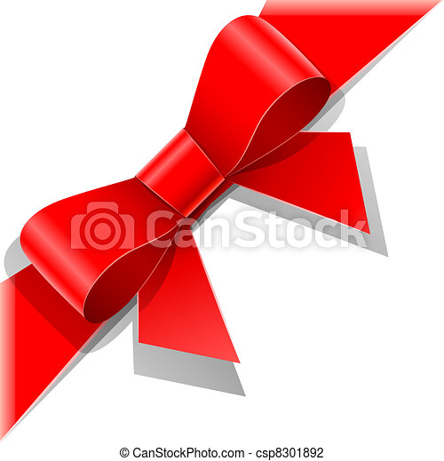 red bow with ribbon - csp8301892