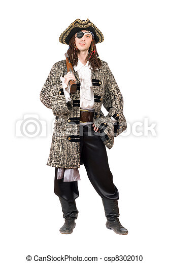 Man dressed as pirate. Isolated - csp8302010