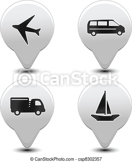 Vector set of transport pointers - car, ship, plane - csp8302357