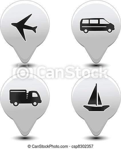 Vector set of transport pointers - car, ship, plane - csp8302357