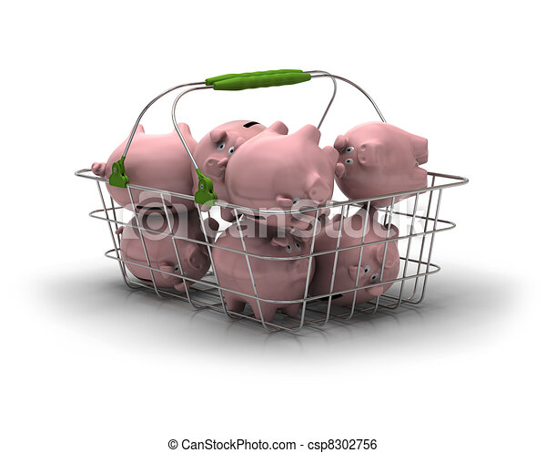 metal basket with lot of pink piggy banks inside over a white background - csp8302756