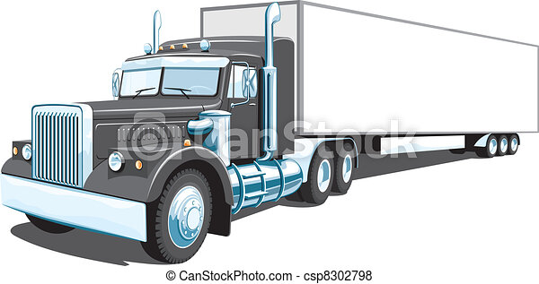 Black semi truck - csp8302798