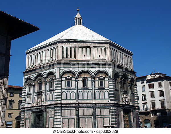 The Baptistery of San Giovanni in Florence Italy. The florence octagonal baptistery of st john is one of the city's oldest buildings built in romanesque style around 1059 - csp8302829