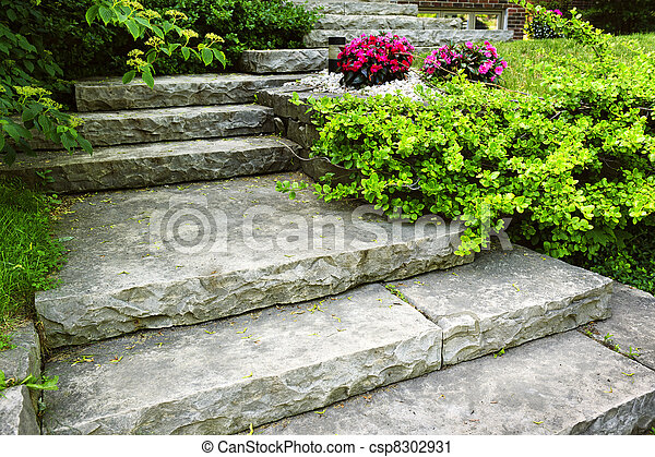 Stone stairs landscaping - csp8302931