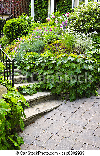 Natural stone garden stairs - csp8302933