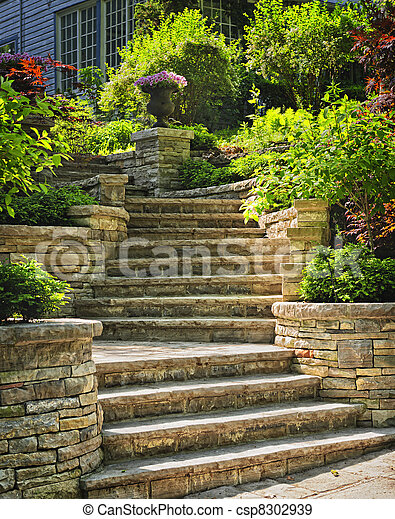 Stone stairs landscaping - csp8302939