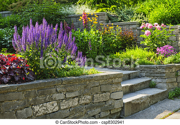Garden with stone landscaping - csp8302941