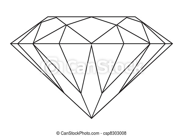 Vettore di diamante contorno semplice nero e bianco - Diamant dessin ...