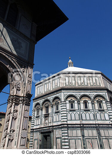 The Baptistery of San Giovanni in Florence Italy. The florence octagonal baptistery of st john is one of the city's oldest buildings built in romanesque style around 1059 - csp8303066