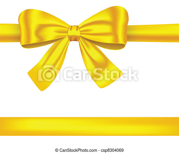 Golden ribbons with bow on white - csp8304069