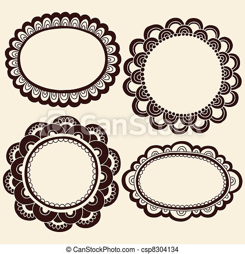 Henna Doodles Picture Frames Vector - csp8304134