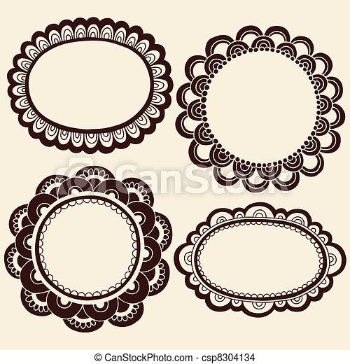 Henna Doodles Picture Frames Vector - csp8304134