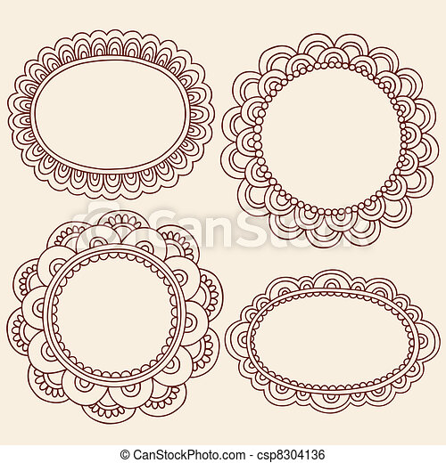 Clip Art Vector of Henna Mehndi Picture Frames Vector - Hand-Drawn ...