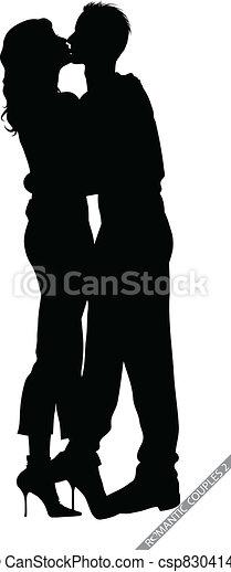 romantic couple silhouettes - csp8304142