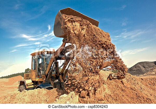 Wheel loader unloading soil - csp8304243