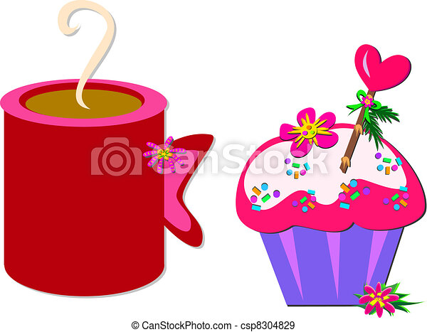 Cup of Chocolate and a Cupcake - csp8304829