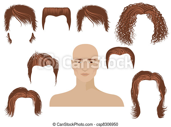 Hairstyle.Man face and set of haircuts - csp8306950