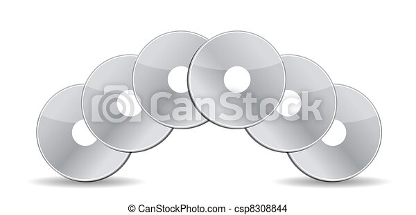 stack of cd / dvds illustration - csp8308844