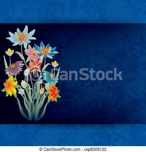 abstract grunge composition with spring flowers - csp8309122