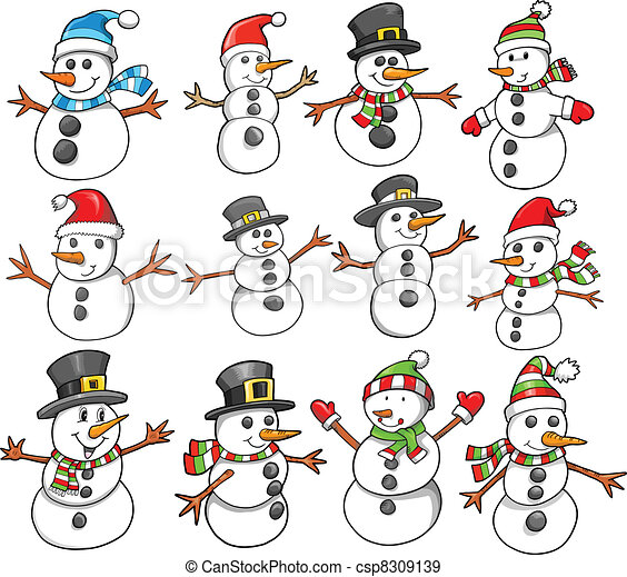 Holiday Christmas Winter Snowman  - csp8309139