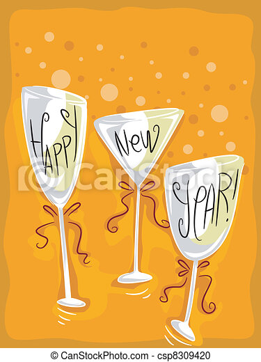 New Year Wineglass - csp8309420