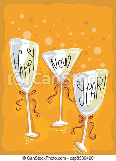 New Year Wineglass - csp8309420