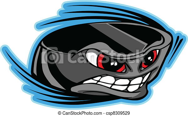 Ice Hockey Puck Face Cartoon Vector - csp8309529
