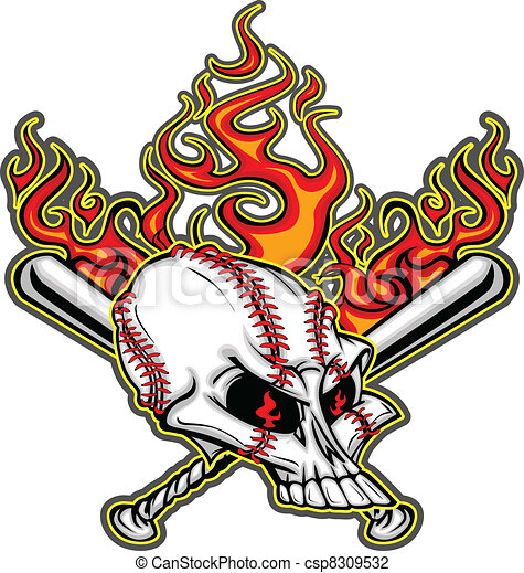 Softball Baseball Skull and Bats Fl - csp8309532