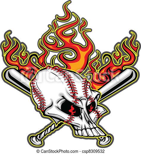 Softball Baseball Skull and Bats Fl - csp8309532