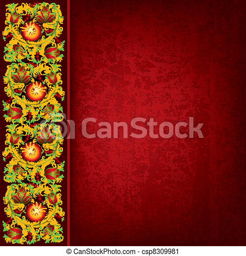 abstract grunge background with spring floral ornament - csp8309981