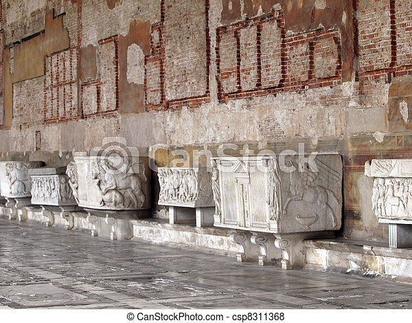 Pisa - Camposanto - Cemetery was constructed in 1278 to house the sacred dirt brought back from Golgotha during the Crusades. It then became the burial place of the Pisan upper class - csp8311368