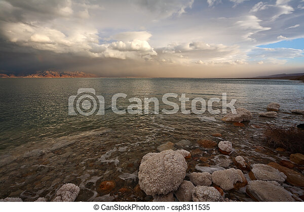 Spring thunder on the Dead Sea in Israel