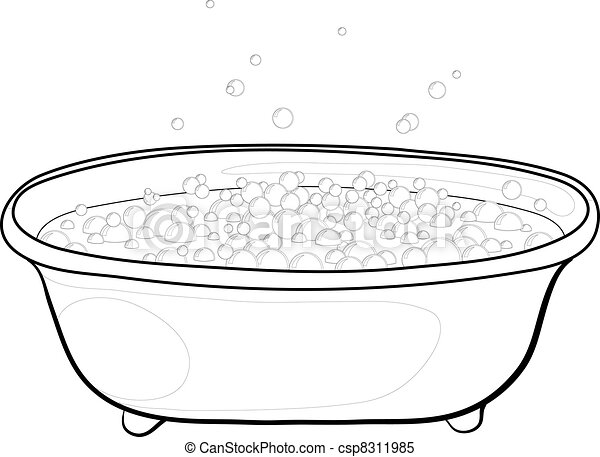 Bath with bubbles, contours - csp8311985
