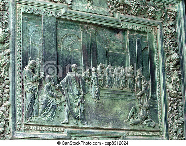 Pisa - Duomo.  Elaborate door of bronze by Pisano - csp8312024