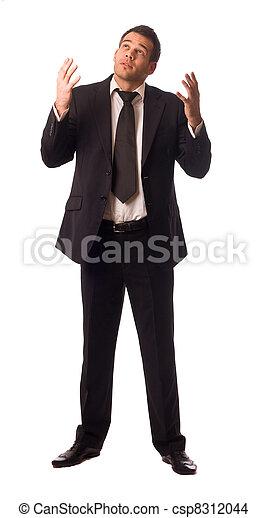 portrait of a business man in despair - csp8312044
