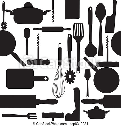 Kitchen Tools Drawings eps vector of vector seamless pattern of kitchen tools. csp8312234