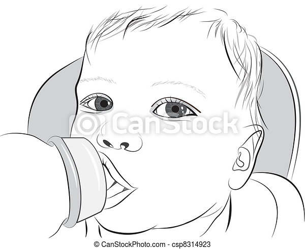 A baby drinking milk from a bottle - csp8314923