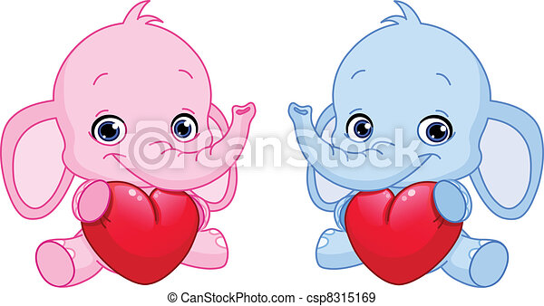 Baby elephants holding hearts - csp8315169