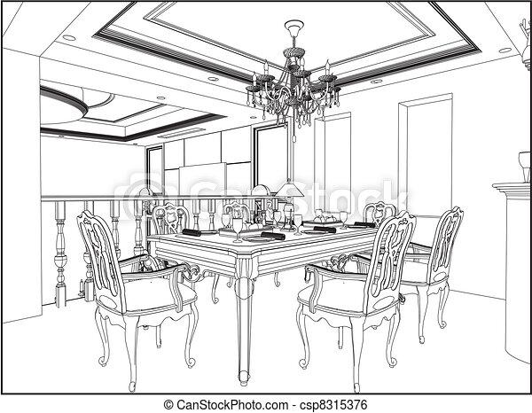 Dining Room Vector Dining Room Csp8315376