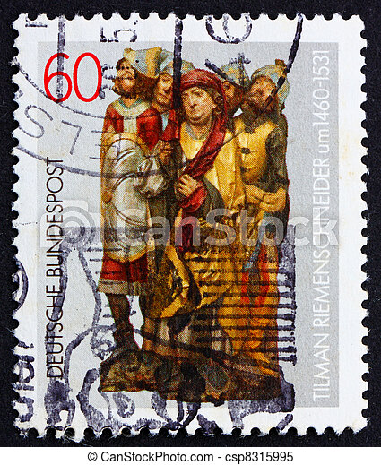 GERMANY - CIRCA 1981: a stamp printed in the Germany shows Altar figures by Tilman Riemenschneider, sculptor, circa 1981 - csp8315995