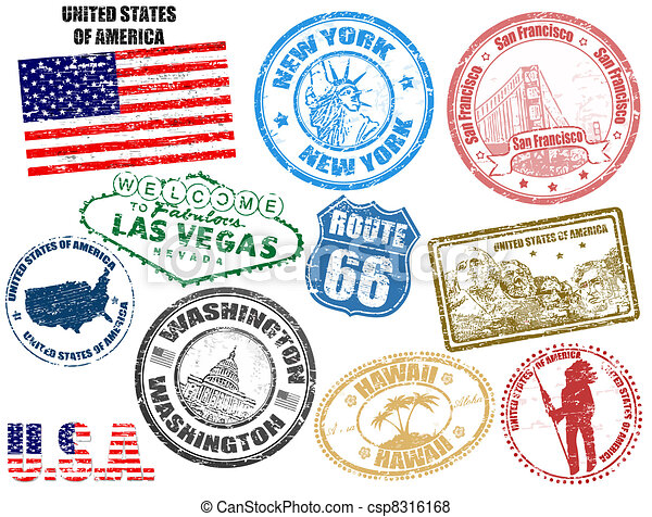 Stamps with United States of America - csp8316168