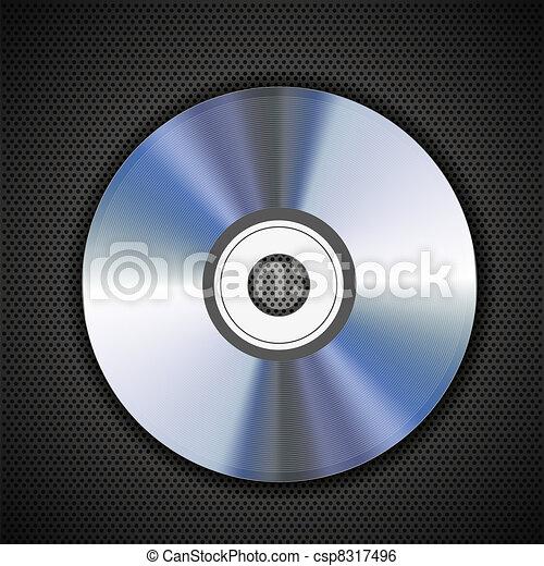 cd disk on metal grid background. Vector illustration - csp8317496