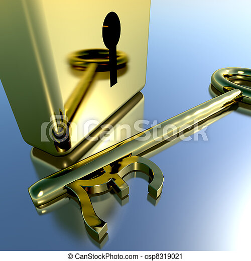 Pound Key With Gold Padlock Showing Banking Savings And Finance - csp8319021